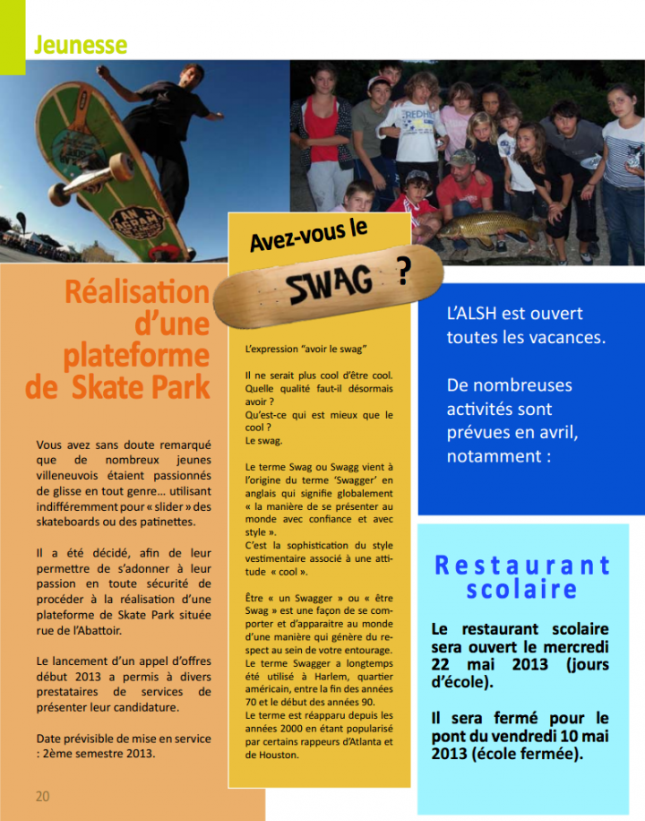 billetin municipal d'information - villeneuve les béziers skatepark
