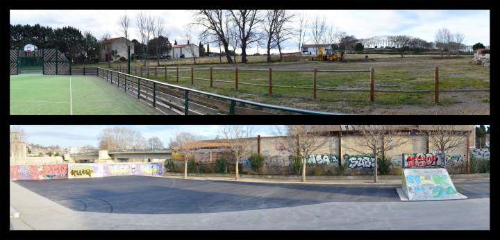 En haut: l'emplacement du futur skatepark de Capestang - En bas: la fabuleuse extension du skatepark de Béziers !