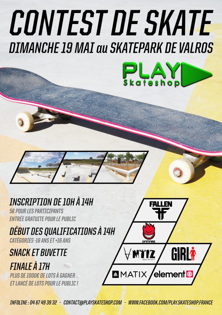 Contest de skate Play Skateshop au skatepark de Valros le dimanche 28 avril 2013